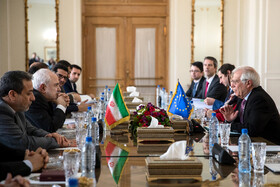 The meeting between Iranian Foreign Minister Mohammad Javad Zarif (R) and Europe's new foreign affairs chief Josep Borrell, Tehran, Iran, February 3, 2020.