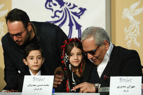 """Actor Mehran Modiri (R) is present in the press conference of the film crew of """"Walnut Tree"""" on the fourth day of the 38th Fajr Film Festival, Tehran, Iran, February 4, 2020."""