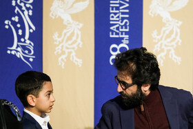 """Actor Behrouz Shoeibi (R) is present in the press conference of """"Bone Marrow"""" on the fifth day of the 38th Fajr Film Festival, Tehran, Iran, February 5, 2020."""