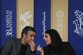 """Actor Pejman Jamshidi is present in the press conference of """"Good, Bad, Garish 2: The Secret Army"""" on the fifth day of the 38th Fajr Film Festival, Tehran, Iran, February 5, 2020."""