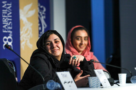 """Actress Barn Kosari is present in the press conference of """"Slaughterhouse"""" on the sixth day of the 38th Fajr Film Festival, Tehran, Iran, February 6, 2020."""