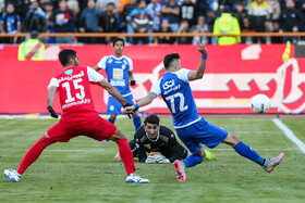 The football match between Esteghlal FC (blue kit) and Persepolis FC , Tehran, Iran, February 6, 2020.