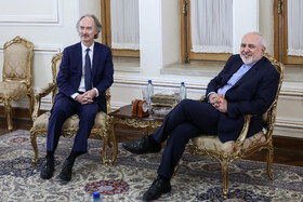 The meeting between Iranian Foreign Minister Mohammad Javad Zarif (R) and the UN special envoy for Syria Geir Pedersen, Tehran, Iran, February 8, 2020.
