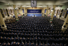 The meeting between Iran's Supreme Leader Ayatollah Ali Khamenei and a group of commanders, pilots and staff of the Army Air Forces, Tehran, Iran, February 8, 2020.