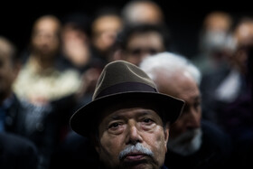 Veteran Iranian actor Ali Nasirian is seen during a ceremony in which his 85th birthday is celebrated, Tehran, Iran, February 8, 2020.