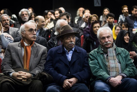Veteran Iranian actor Ali Nasirian (front, M) is seen during a ceremony in which his 85th birthday is celebrated, Tehran, Iran, February 8, 2020.