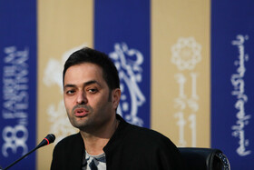"Film director Meysam Kazazi is present in the press conference of ""Shin"" on the eighth day of the 38th Fajr Film Festival, Tehran, Iran, February 8, 2020."