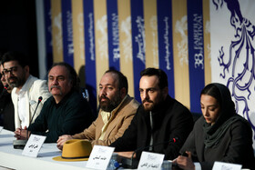 """The film crew of """"Shahre Qesseh Cinema"""" is seen during a press conference on the final day of the 38th Fajr Film Festival, Tehran, Iran, February 10, 2020."""