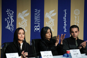 """The film crew of """"Filicide"""" is seen during a press conference on the final day of the 38th Fajr Film Festival, Tehran, Iran, February 10, 2020."""