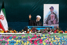 Iranian President Hassan Rouhani delivers a speech on the 41st anniversary of the Islamic Revolution's victory, Tehran, Iran, February 11, 2020.