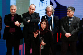 "Actress Nazanin Ahmadi wins Best Actress Crystal Simorgh for ""The Clouds are about to rain"" during the closing ceremony of the 38th Fajr Film Festival, Tehran, Iran, February 11, 2020."