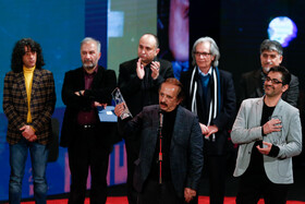 "Film director Majid Majid (front) wins Best Film Crystal Simorgh for ""The Sun"" during the closing ceremony of the 38th Fajr Film Festival, Tehran, Iran, February 11, 2020."