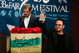 "Film director Mohammad Hossein Mahdavian (front) wins Best Director Crystal Simorgh for ""Walnut Tree"" during the closing ceremony of the 38th Fajr Film Festival, Tehran, Iran, February 11, 2020."
