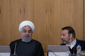 The session of Iran's cabinet members is held under the chair of Iranian President Hassan Rouhani (L), Tehran, Iran, February 12, 2020.