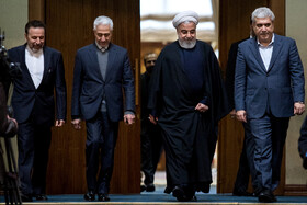 The closing ceremony of the 33rd Khwarizmi International Award is held in the presence of Iranian President Hassan Rouhani (2nd, R), Tehran, Iran, February 17, 2020.