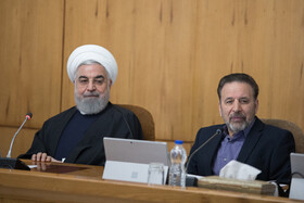 Iranian President Hassan Rouhani (L) is present in the weekly session of Iran's cabinet members, Tehran, Iran, February 19, 2020.