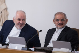 Iranian Foreign Minister Mohammad Javad Zarif (L) is present in the weekly session of Iran's cabinet members, Tehran, Iran, February 19, 2020.