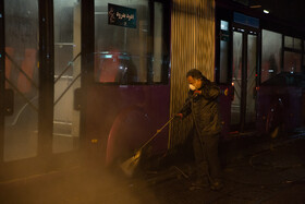 Buses are disinfected as a prevention measure for curbing the spread of the new coronavirus in Tehran, Iran, February 20, 2020.