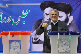 Tehran City Council Chairman Mohsen Hashemi Rafsanjani casts his vote in the 11th parliamentary and Assembly of Experts elections, Tehran, Iran, February 21, 2020.