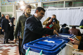 Commander of Navy of the Islamic Revolutionary Guard Corps casts his vote in the 11th parliamentary and Assembly of Experts elections, Tehran, Iran, February 21, 2020.