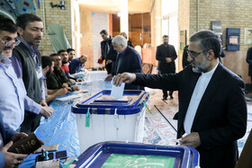 Spokesman of Iran's Judiciary Gholam-Hossein Esmaili casts his vote in the 11th parliamentary and Assembly of Experts elections, Tehran, Iran, February 21, 2020.