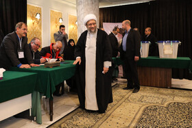 Chairman of the Expediency Council Sadeq Amoli Larijani casts his vote in the 11th parliamentary and Assembly of Experts elections, Tehran, Iran, February 21, 2020.