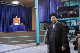 The grandson of Imam Khomeini Hassan Khomeini casts his vote in the 11th parliamentary and Assembly of Experts elections, Tehran, Iran, February 21, 2020.