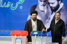 Imam Khomeini's grandson Yaser Khomeini casts his vote in the 11th parliamentary and Assembly of Experts elections, Tehran, Iran, February 21, 2020.