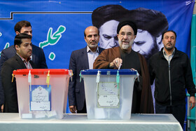 Iranian politician Ali Khatami casts his vote in the 11th parliamentary and Assembly of Experts elections, Tehran, Iran, February 21, 2020.
