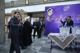 Iranian President Hassan Rouhani casts his vote in the 11th parliamentary and Assembly of Experts elections, Tehran, Iran, February 21, 2020.