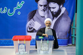 Iranian politician Majid Ansari casts his vote in the 11th parliamentary and Assembly of Experts elections, Tehran, Iran, February 21, 2020.