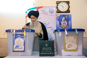 Ayatollah Mohammad Alavi Gorgani casts his vote in the 11th parliamentary and Assembly of Experts elections, Qom, Iran, February 21, 2020.