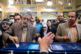 Iranian politician Gholam-Ali Hadad Adel casts his vote in the 11th parliamentary and Assembly of Experts elections, Qom, Iran, February 21, 2020.