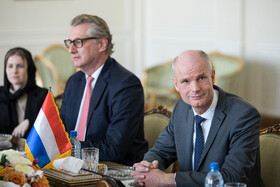Dutch FM Stef Blok (R) is seen during his meeting with Iranian Foreign Minister Mohammad Javad Zarif, Tehran, Iran, February 22, 2020.