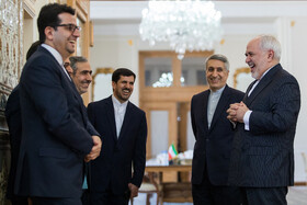Iranian Foreign Minister Mohammad Javad Zarif (R) is seen on the sidelines of his meeting with Dutch FM, Tehran, Iran, February 22, 2020.