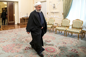 Iranian President Hassan Rouhani is seen on the sidelines of his meeting with Minister of Foreign Affairs of the Kingdom of the Netherlands Stef Blok, Tehran, Iran, February 22, 2020.