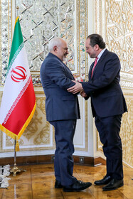Austrian Foreign Minister Alexander Schallenberg (R) is welcomed by Iranian Foreign Minister Mohammad Javad Zarif, Tehran, Iran, February 23, 2020.