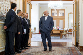 Iranian Foreign Minister Mohammad Javad Zarif (R) is seen on the sidelines of his meeting with Austrian Foreign Minister Alexander Schallenberg, Tehran, Iran, February 23, 2020.