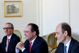 Austrian Foreign Minister Alexander Schallenberg (M) is seen during his meeting with Iranian Foreign Minister Mohammad Javad Zarif, Tehran, Iran, February 23, 2020.