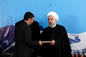 The ceremony for the official operation of Phase-1 of Tehran-North Freeway is held in the presence of Iranian President Hassan Rouhani (R), Tehran, Iran, February 25, 2020.