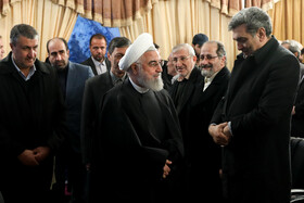 Iranian President Hassan Rouhani (front, M) is seen on the sidelines of the ceremony for the official operation of Phase-1 of Tehran-North Freeway, Tehran, Iran, February 25, 2020.