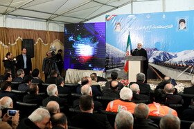 Iranian President Hassan Rouhani delivers a speech during the ceremony for the official operation of Phase-1 of Tehran-North Freeway, Tehran, Iran, February 25, 2020.