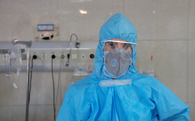"""Mr Esmeili, the nurse of Kamkar Hospital is seen in the photo, Qom, Iran, March 12, 2020. When asked about the current situation in fighting the coronavirus, he said, """"I purify the blood of the patients in the Intensive Care Unit (ICU) of the hospital so that patients' diseases can be cured rapidly""""."""