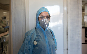 """Dr. Azarmanesh, the infectious disease specialist of Kamkar Hospital, is seen in the photo, Qom, Iran, March 12, 2020. When asked about the current situation in fighting the coronavirus, she said, """"We work in double shifts as the coronavirus spreads in Iran and all beds are used for the coronavirus cases."""" """"We try to make patients more confident as well as giving them hospital treatment"""", she added."""