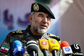 Commander of the Army Ground Force, Brigadier General Kioumars Heydari, delivers a speech during Army's exercises to counter the coronavirus, Iran, March 15, 2020.