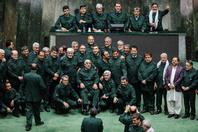 On the sidelines of the public session of Iran's Parliament, Tehran, Iran, April 9, 2019. On this day, the MPs wore Guards uniforms to show their disapproval of the US President's decision to designate Iran's Islamic Revolutionary Guard Corps (IRGC) as a foreign terrorist organization.