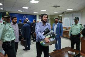 Mohammad Hadi Razavi is present in the court session for allegations of disrupting Iran's economy, Tehran, Iran, May 14, 2019. He has been sentenced to 20 years in prison and 74 lashes for disrupting the country's economy.