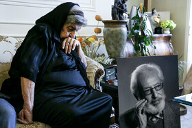 The wife of Jamshid Mashayekhi is seen in the photo during the first days of Mr Mashayekhi's passing away, Tehran, Iran, April 3, 2019. Mr Mashayekhi began his professional acting on stage in 1957 and appeared in nearly 100 films and 50 TV series and was awarded the Order of Culture and Art.