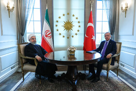 The meeting between Iranian President Hassan Rouhani (L) and Turkish President Recep Tayyip Erdoğan, Ankara, Turkey, September 16, 2019. Mr Rouhani attended the 5th tripartite summit of Iran, Russia and Turkey on the settlement of the Syrian crisis.