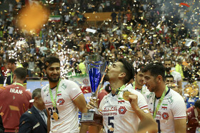 Iranian volleyball players celebrate their championship at the 2019 Asian Men's Volleyball Championship, Tehran, Iran, September 21, 2019. Iran defeated Australia in three straight sets and became the champion of the Asian Men's Volleyball Championship for the third time.